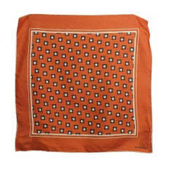 1970s Givenchy Orange Hand Rolled Silk Scarf