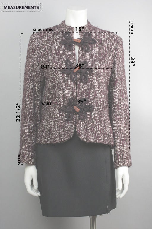 1980s Pierre Balmain Wine Multicolor Wool Tweed Jacket and Scarf For Sale 1