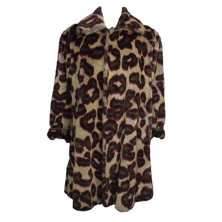 1990s Vivienne Westwood Men's Leopard Print Faux Fur Coat