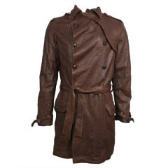 1990s Vivienne Westwood Men's Brown Leather Trench