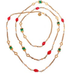 CHANEL Necklace With Green & Red Poured Glass Beads
