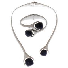 Modernist Sterling Necklace and Bracelet