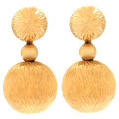Mod Textured Gold Ball Earrings