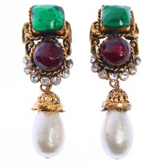 CHANEL Maison Gripoix , Rhinestone and Pearl Earrings