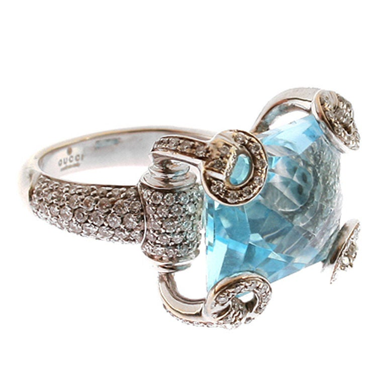 gucci 18 kt white gold and blue topaz ring at 1stdibs