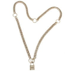 Hermes Sterling Lock and  Chain Necklace