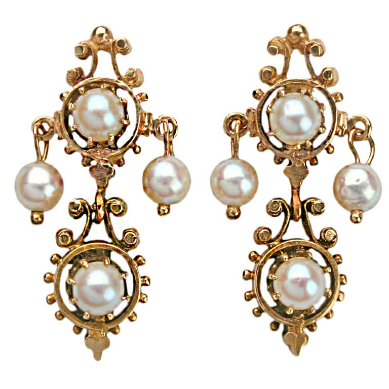Victorian Gold And Pearl Earrings At 1stdibs