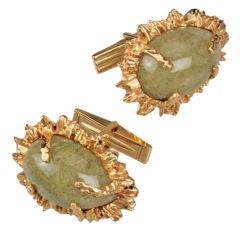 Moss Agate Gold Cuff Links
