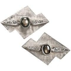 1950s Modernist White Gold Cufflinks