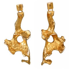 BJORN WECKSTROM Sculptural Biomorphic Gold Earrings