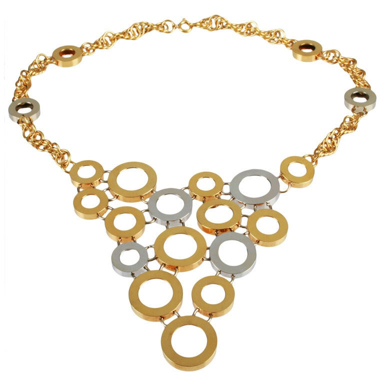 italian geometric yellow and white gold circle necklace at