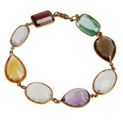 Bracelet with Large Multi Colored Semi-Precious Faceted Stones