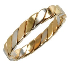 White and Yellow Gold  Oval Hinged Bracelet