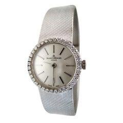 Baume & Mercier 60s 18K White Gold Watch w/ Diamonds