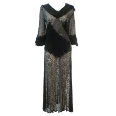 1930s Intricate Appliqué Silk Lace and Velvet Dress