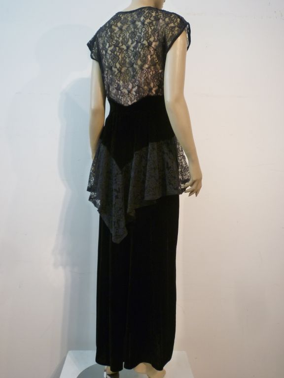 40s Lace and Velvet Gown with Peplum 3