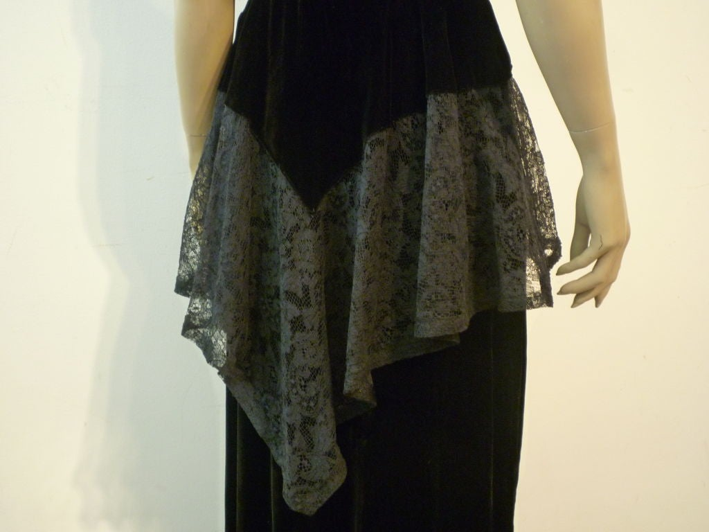 40s Lace and Velvet Gown with Peplum 4