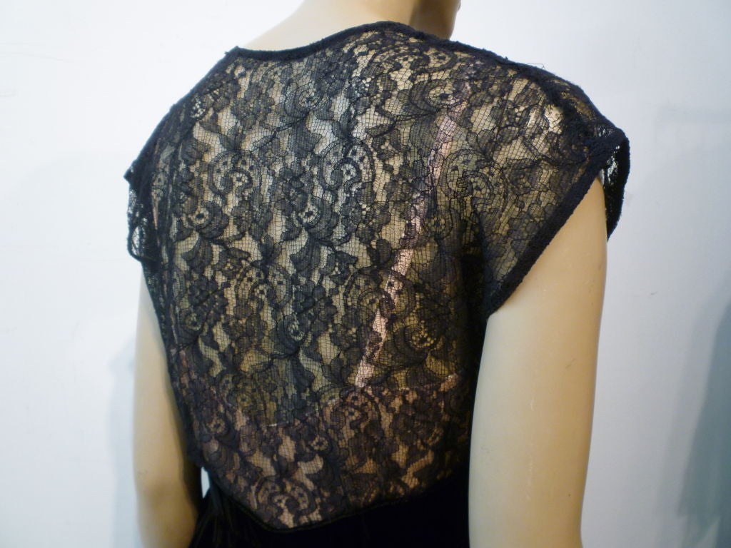 40s Lace and Velvet Gown with Peplum 6