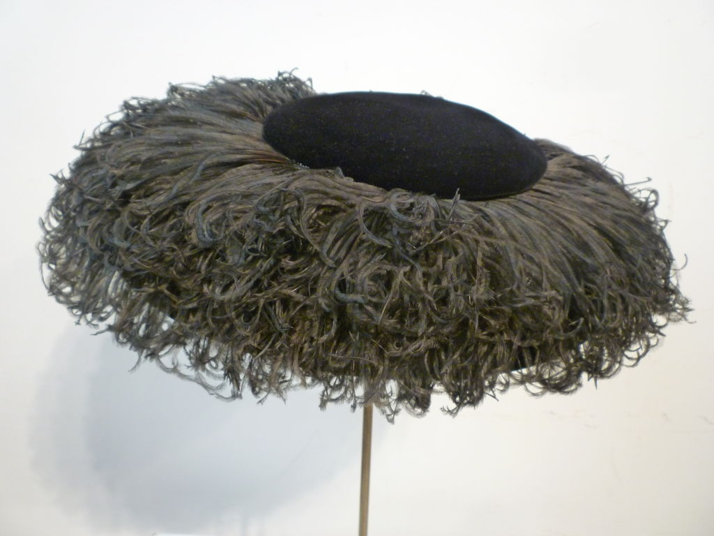 Saks Fifth Avenue 1950s Spectacular Ostrich Portrait Hat 5