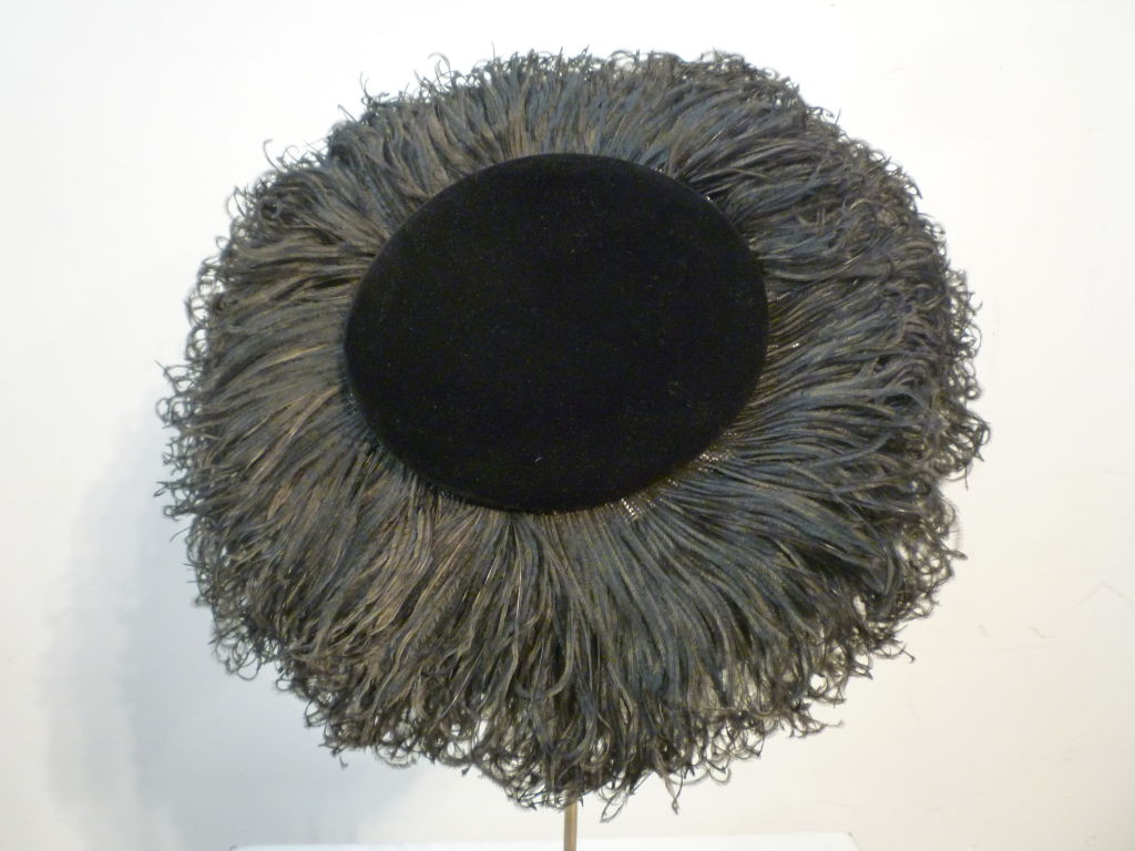 Black Saks Fifth Avenue 1950s Spectacular Ostrich Portrait Hat For Sale