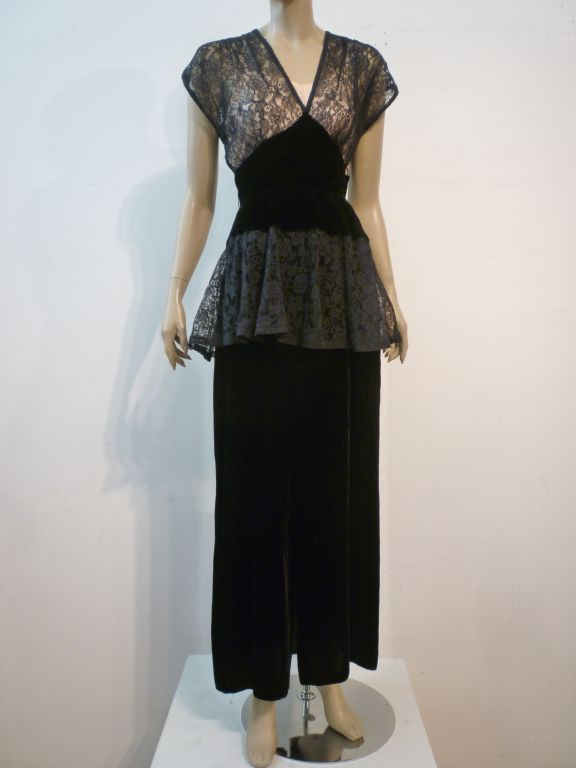 40s Lace and Velvet Gown with Peplum 2