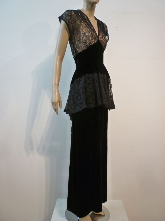 40s Lace and Velvet Gown with Peplum 7