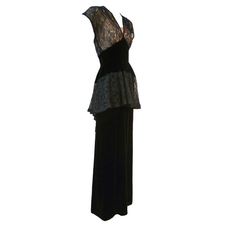 40s Lace and Velvet Gown with Peplum 1