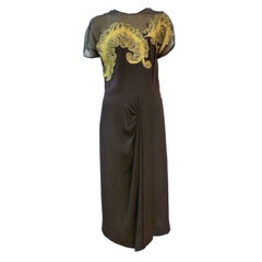 Dorothy O'Hara 40s Crepe Cocktail Dress w/ Chartreuse Feather