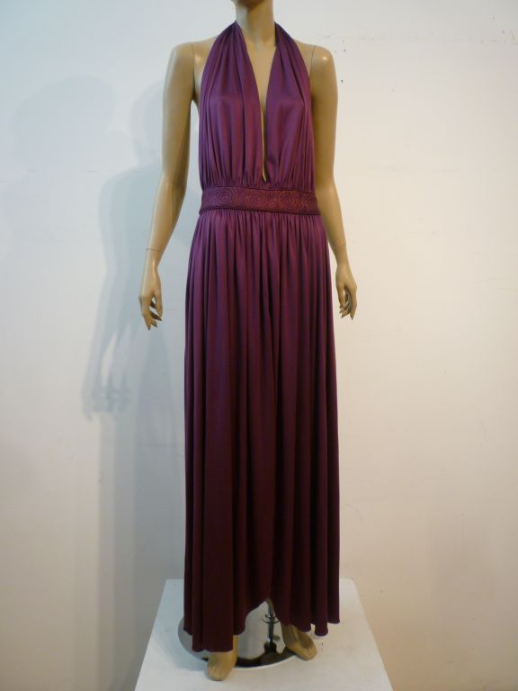 Bill Tice Plunging Disco Jersey Halter Dress in Royal Purple 2