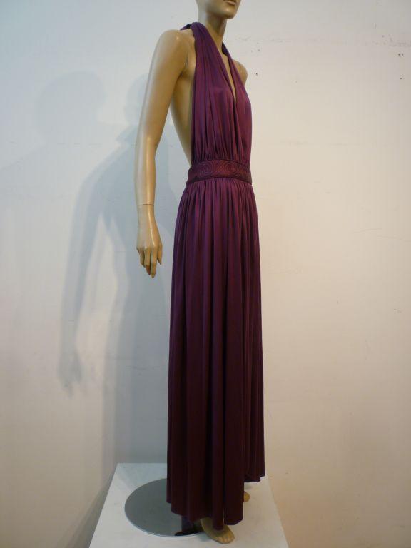 Bill Tice Plunging Disco Jersey Halter Dress in Royal Purple 3