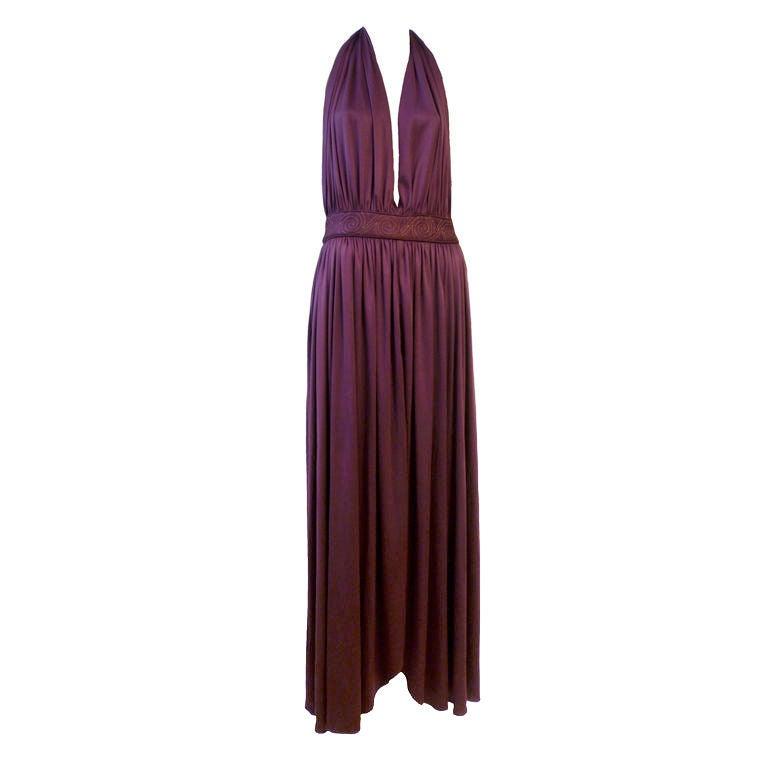 Bill Tice Plunging Disco Jersey Halter Dress in Royal Purple 1
