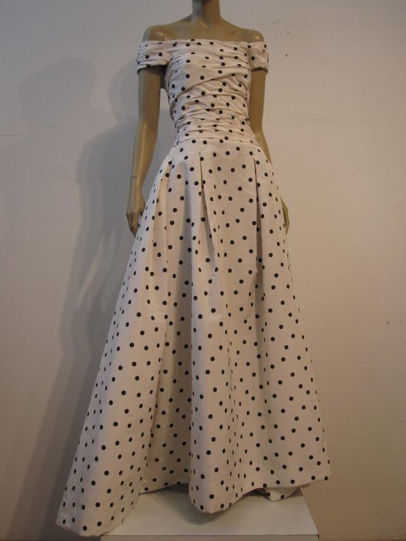 Pierre Balmain Couture by Oscar De la Renta Polka Dot Ball Gown 2