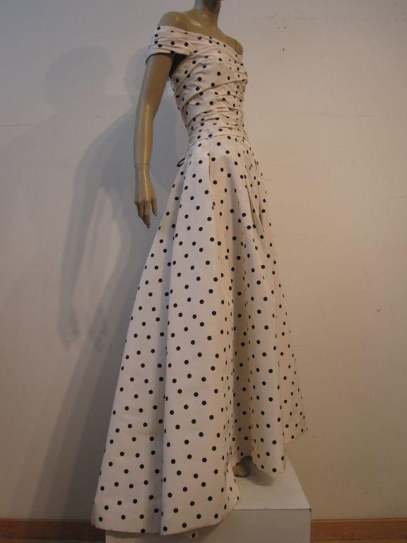 Pierre Balmain Couture by Oscar De la Renta Polka Dot Ball Gown 3