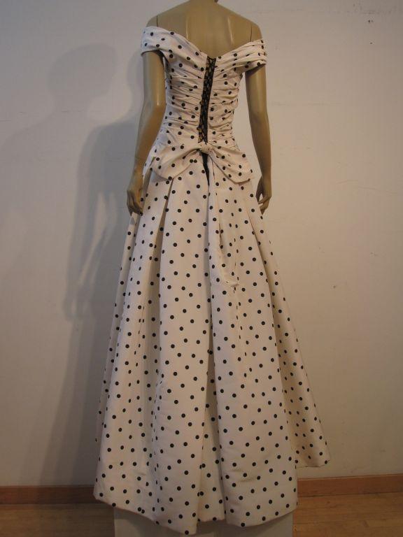 Pierre Balmain Couture by Oscar De la Renta Polka Dot Ball Gown 4