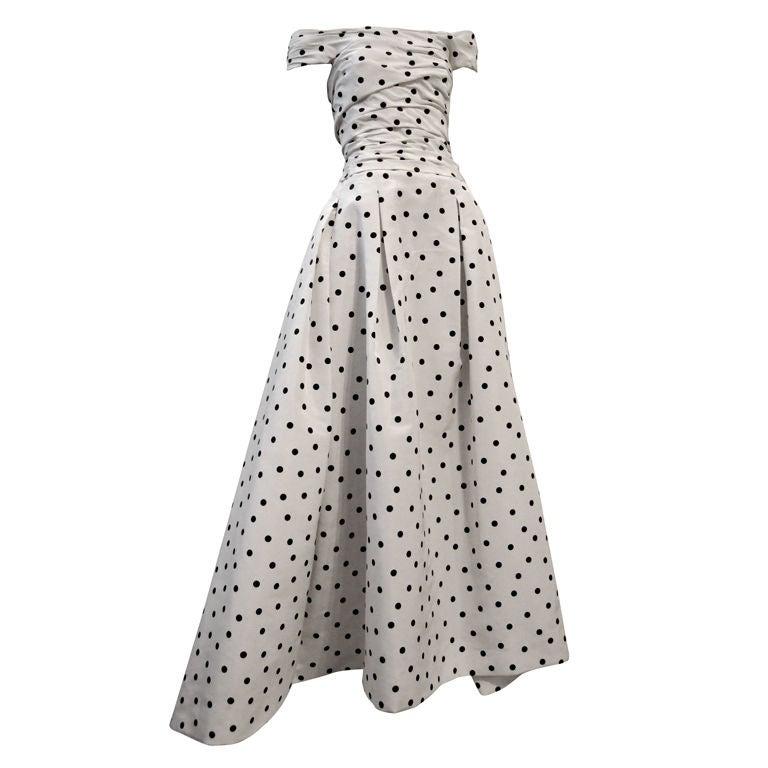 Pierre Balmain Couture by Oscar De la Renta Polka Dot Ball Gown 1