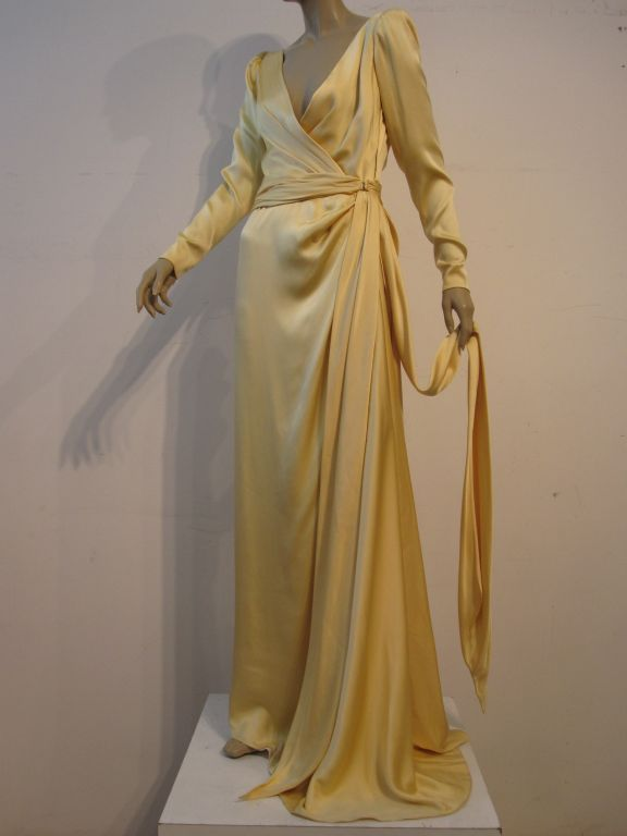 Yves Saint Laurent Couture Buttery Yellow Silk Charmeuse Gown 2