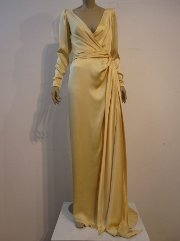 Yves Saint Laurent Couture Buttery Yellow Silk Charmeuse Gown 3
