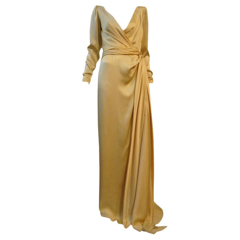 Yves Saint Laurent Couture Buttery Yellow Silk Charmeuse Gown 1