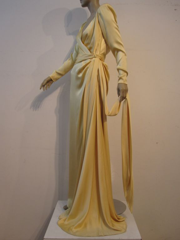 Yves Saint Laurent Couture Buttery Yellow Silk Charmeuse Gown 4