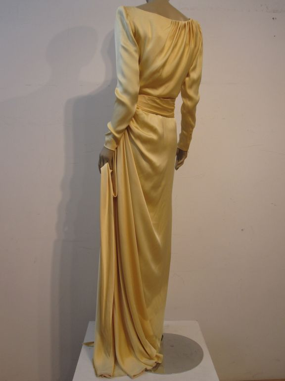 Yves Saint Laurent Couture Buttery Yellow Silk Charmeuse Gown 5