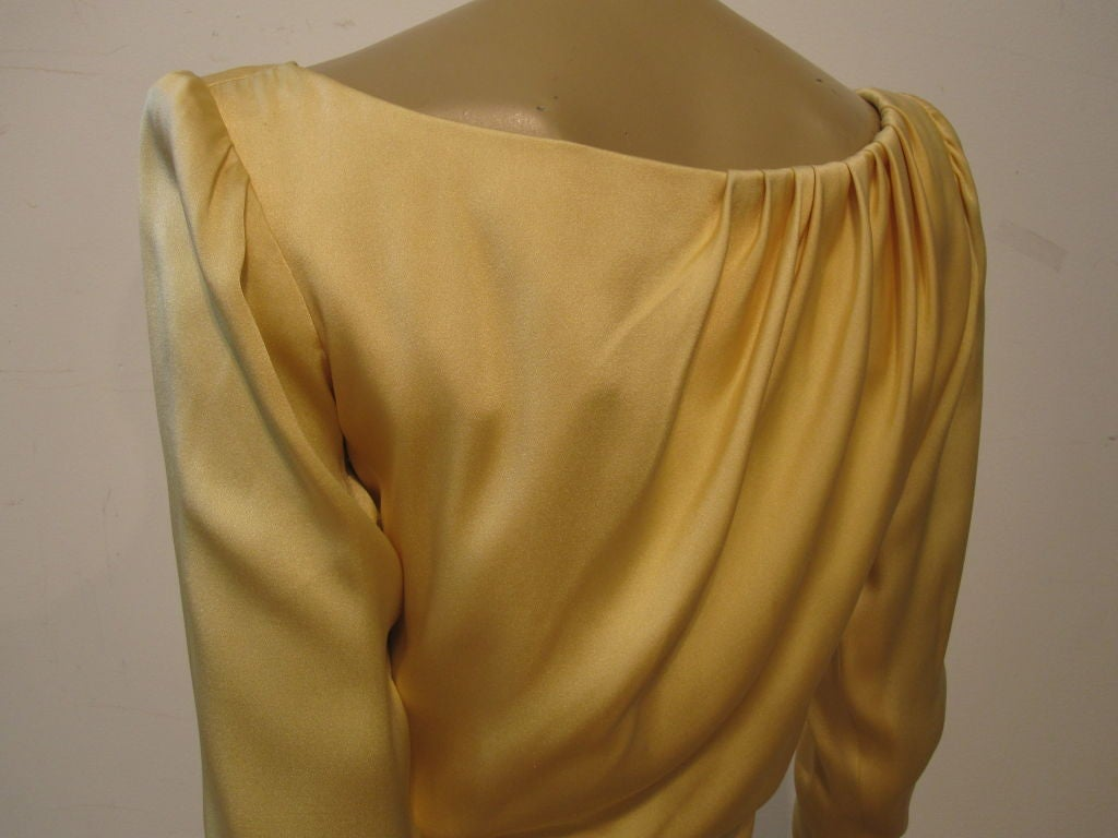 Yves Saint Laurent Couture Buttery Yellow Silk Charmeuse Gown 6