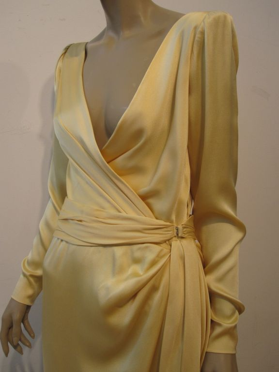 Yves Saint Laurent Couture Buttery Yellow Silk Charmeuse Gown 7
