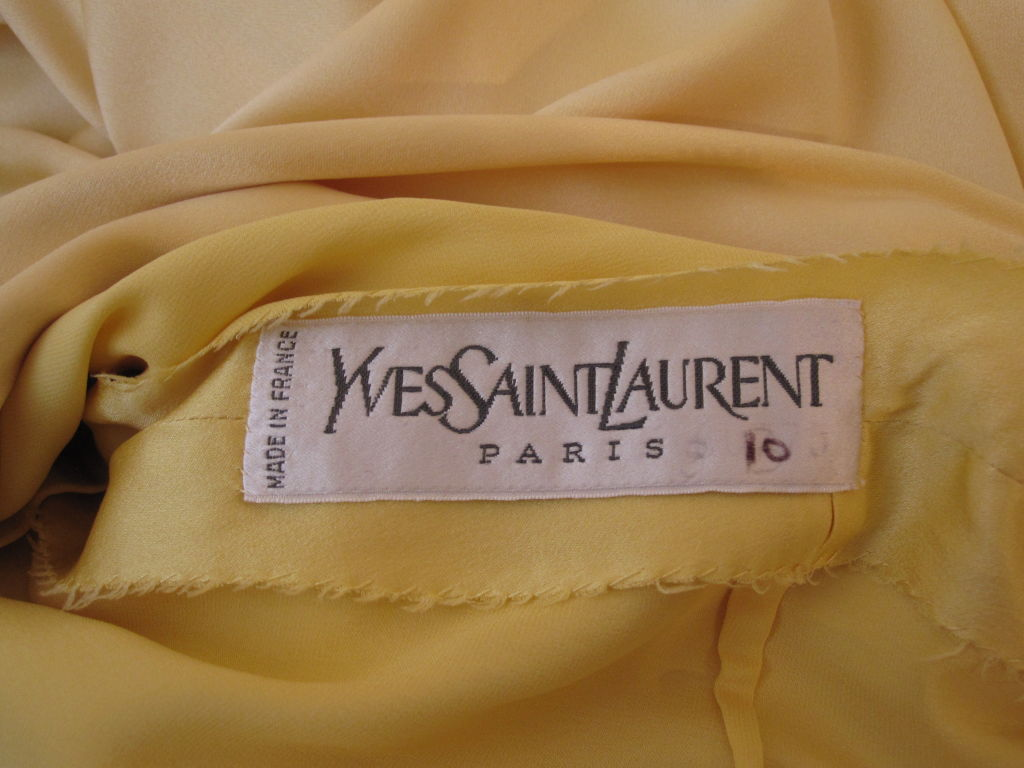 Yves Saint Laurent Couture Buttery Yellow Silk Charmeuse Gown 8