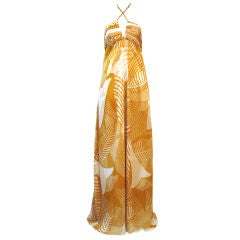 Monique Lhuillier Silk Chiffon Tropical Print Halter Gown