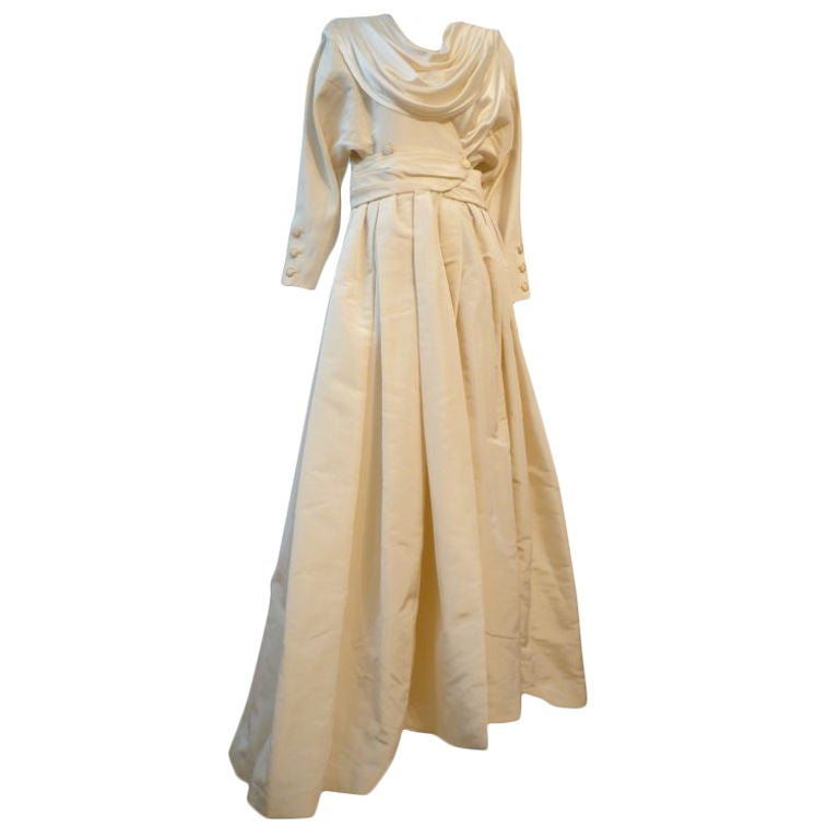 Chanel Haute Couture Ivory Silk Formal Coat Dress