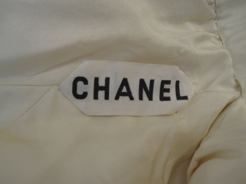 Chanel Haute Couture Ivory Silk Formal Coat Dress 10