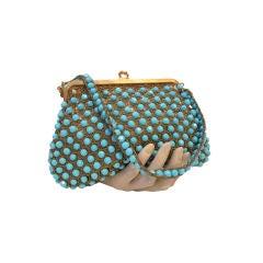 Rosenfeld Crochet Turquoise Bead Handbag 60s
