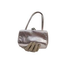 Morris Moskowitz Silver Metallic Faux Alligator Evening Bag