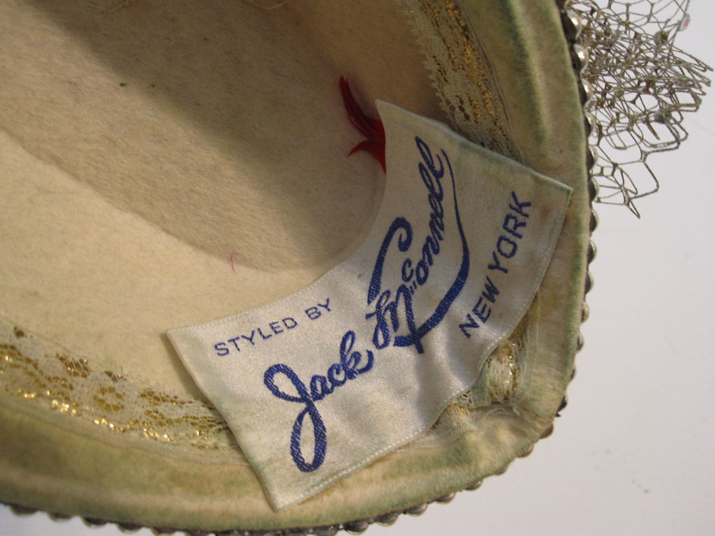 "Jack McConnell 80s Solid Gold Beaded ""Military"" Hat 5"