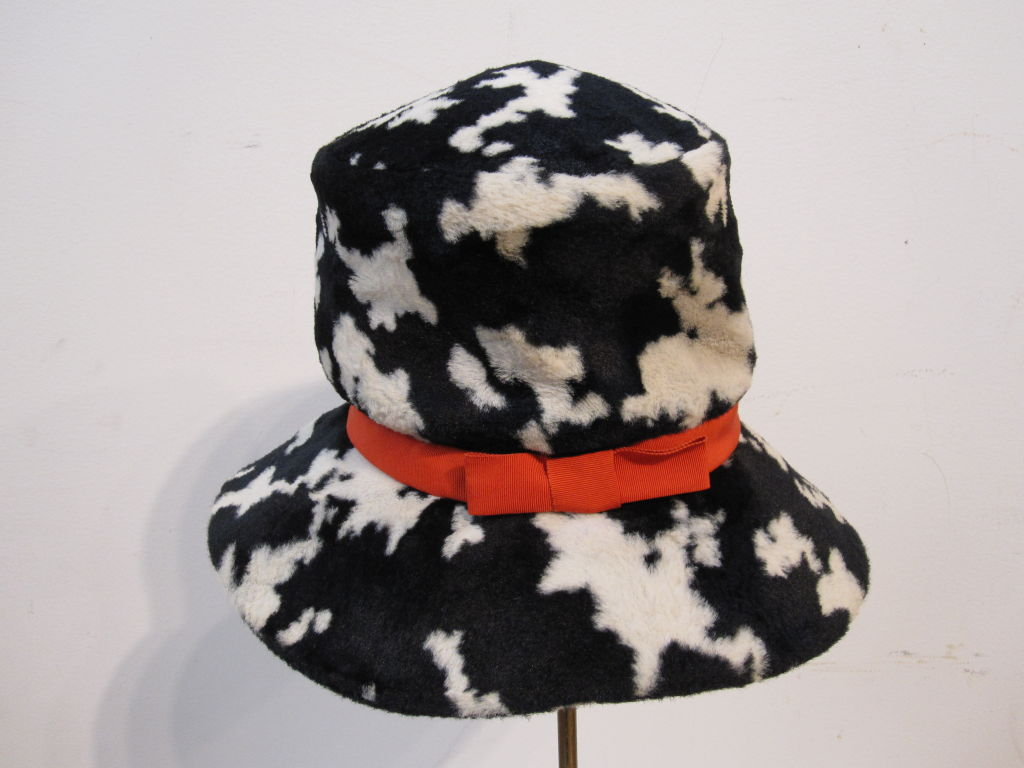 "Black Mod ""Dachettes"" Hat by Lilly Dache in Dalmation Print For Sale"